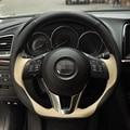 Hand-stitched Black Beige Steering Wheel Cover for Mazda CX-5 CX5 Atenza 2014 New Mazda 3 CX-3 2016