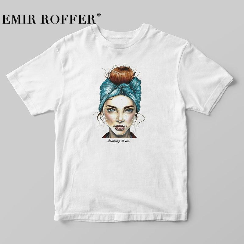 usa cheap sale best prices good quality EMIR ROFFER 2019 Fashion Cool Print Female T-shirt White Cotton Women  Tshirts Summer Casual Harajuku T Shirt Femme Top