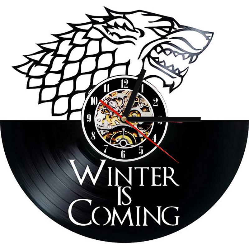 Game Of Thrones 3d Record Wall Clock Hollow Vinyl Record
