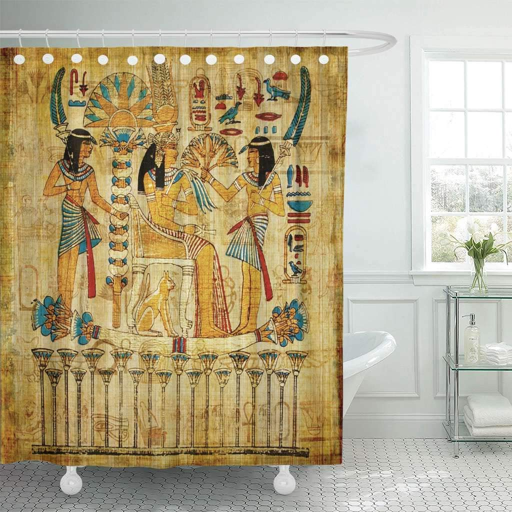 Us 15 73 41 Off Fabric Shower Curtain Hooks Brown Egypt Old Egyptian Papyrus Yellow Ancient Painting Vintage Wall History Parchment In Shower