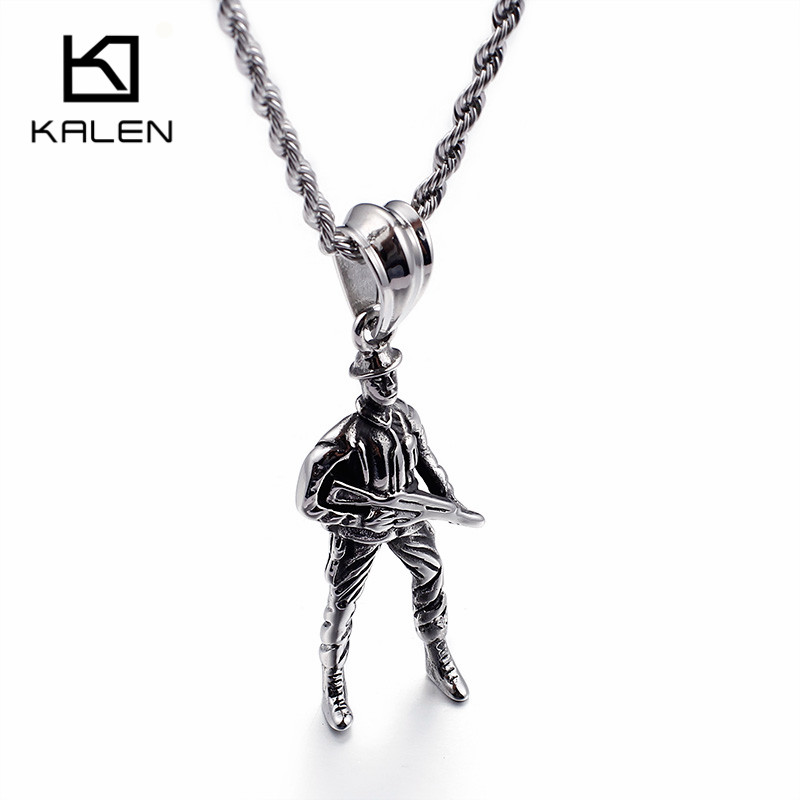 Kalen Unique Soldier Necklace Mens Stainless Steel Soldier Warrior With Gun Pendant 60cm Long Chain Necklace Male Rock Jewelry