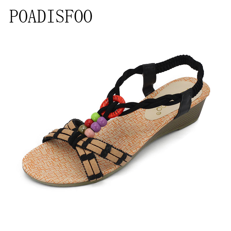 POADISFOO 2018 New Women's Flat Sandals Spring Fashion Soft sole Shoes women .HYKL-518-1 poadisfoo woman shoes summer simple flat fish head sandals solid color elastic student shoes south korea sandals hykl 260