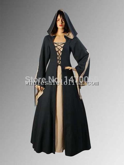 Black & Beige Medieval Renaissance Maiden Dress Gown with Hood ...