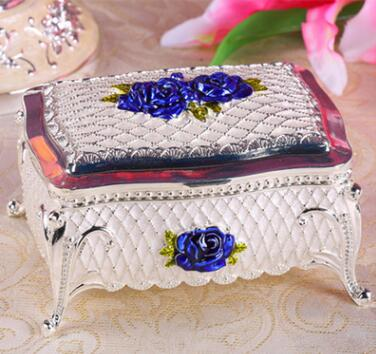 Европейский стиль, креативная коробка из розового сплава, коробка для украшений, винтажная Металлическая Витрина для украшений, Подарочная коробка Z012 - Цвет: sliver and blue