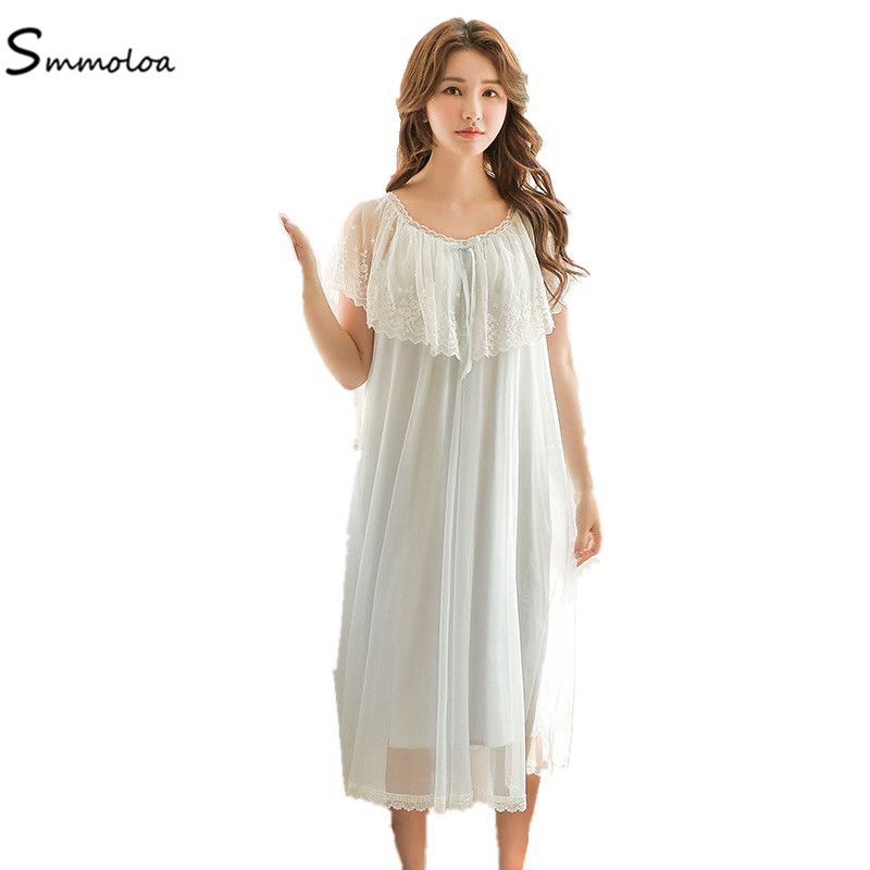 Smmoloa Sexy Gowns Women Mesh Lace   Nightgown   Women sexy Lingerie   Sleepshirts