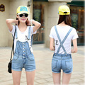 College wind summer new women slim light blue jeans shorts overalls  fashion free shipping