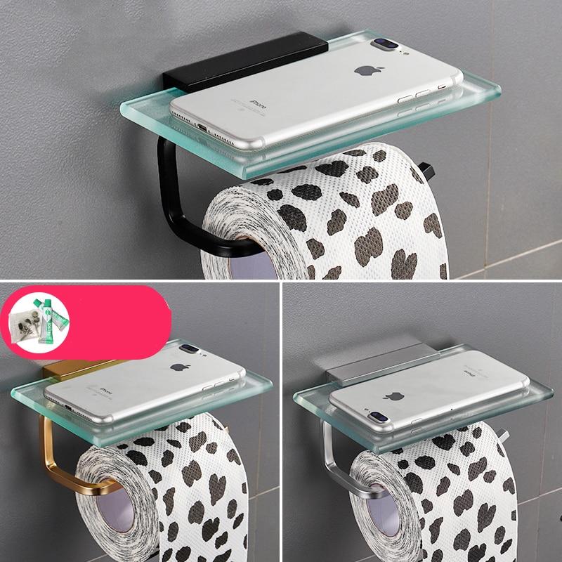 Étagère de salle De bain En Verre Mobile support pour téléphone Salle De Bain Porte-Rouleaux petite serviette Plateau porte-papier hygiénique Rouleau Papier Tube Étanche