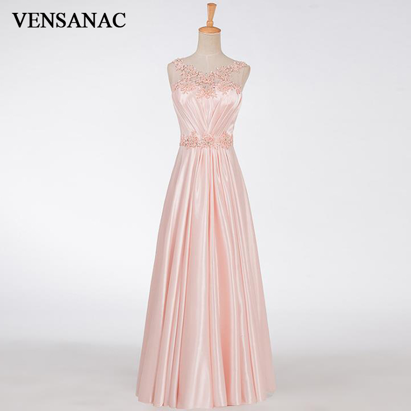 VENSANAC 2017 New A Line Embroidery O Neck Long Evening Dresses Sleeveless Elegant Crystals Pleat Sash Party Prom Gowns in Evening Dresses from Weddings Events