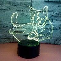 7 Colorful Cat 3D Lamp Acrylic LED Night Light USB Touch Sensor Light Children Cute Night Lamp Bedroom Light Kids Gifts