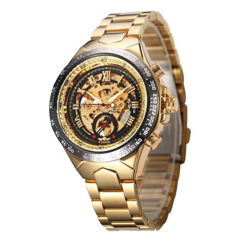 Prix pour Gagnant Marque De Luxe Élégant Montre Automatique Squelette Mécanique Montre-Bracelet Mâle montre-Bracelet Hommes Homme Heure Horloge relogio masculino