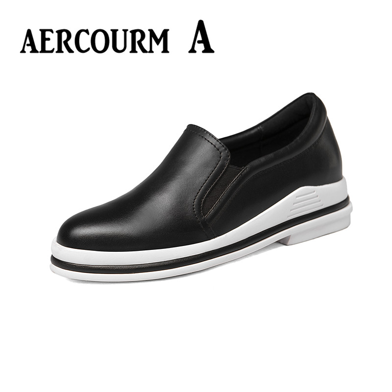 ФОТО Aercourm A Women Genuine Leather Shoes Platform Flats 2017 New Spring Boots Woman Shoes Female Low Cut Casuals Lady Shoes 34-39