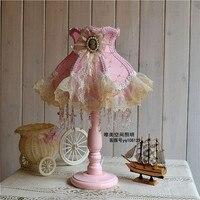 European Pastoral Korean American Princess Lace Wedding Gifts Wedding Room Pink Bedroom Bedside Lamp Gift