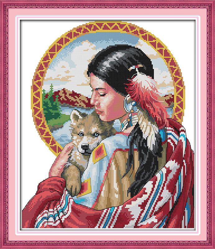 Beautiful Indian Girl Printed Canvas DMC Counted Chinese Cross Stitch Kits Printed Cross-stitch Set Embroidery Needlework