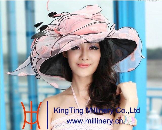 Бесплатная Доставка Мода Нового Прибытия Природный Женщин Органзы Hat Свадьба шляпа С 2 Tone Цветок Большой Брим Floppy Рюшами Волны края