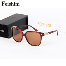FEISHINI High Quality Most Fashionable UV400 Safe Square Glasses Sexy Advanced Lens Black Sunglasses Women Polarized Vintage