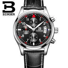 Binger Luxury Brand Men Watch Black Leather Military Watches Casual Quartz Auto Date Chronograph Sport Watch Men Wristwatch 2017