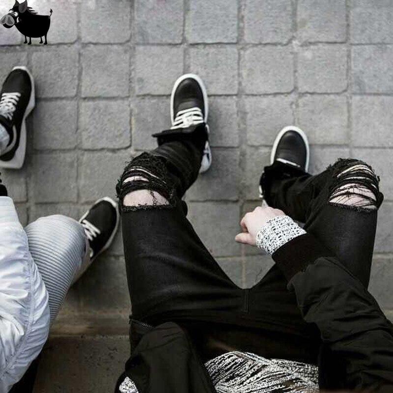 2017 New Black Ripped Jeans Men With Holes Denim Super Skinny Famous Designer Brand Slim Fit Jean Pants Scratched Biker Jeans 2016 italy famous men s jeans new brand men slim fit jeans trousers wear white ripped skinny ripped denim jeans for men