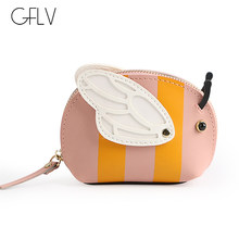 GFLV Brand Cute Wallets Coin Purses Women Cartoon Coin Pockets High Quality PU Leather Wallets Headphone Storage Bag Key Case(China)