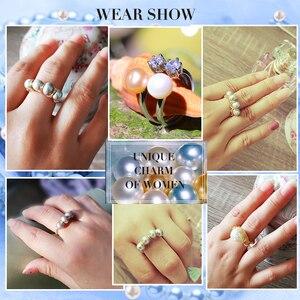 Image 2 - Anillos de perlas naturales barroco de Anillo de perlas de agua dulce para mujer, anillos de oro de perlas hechas a mano, Buen Regalo De niña, anillo de apertura de perlas de 6 7mm