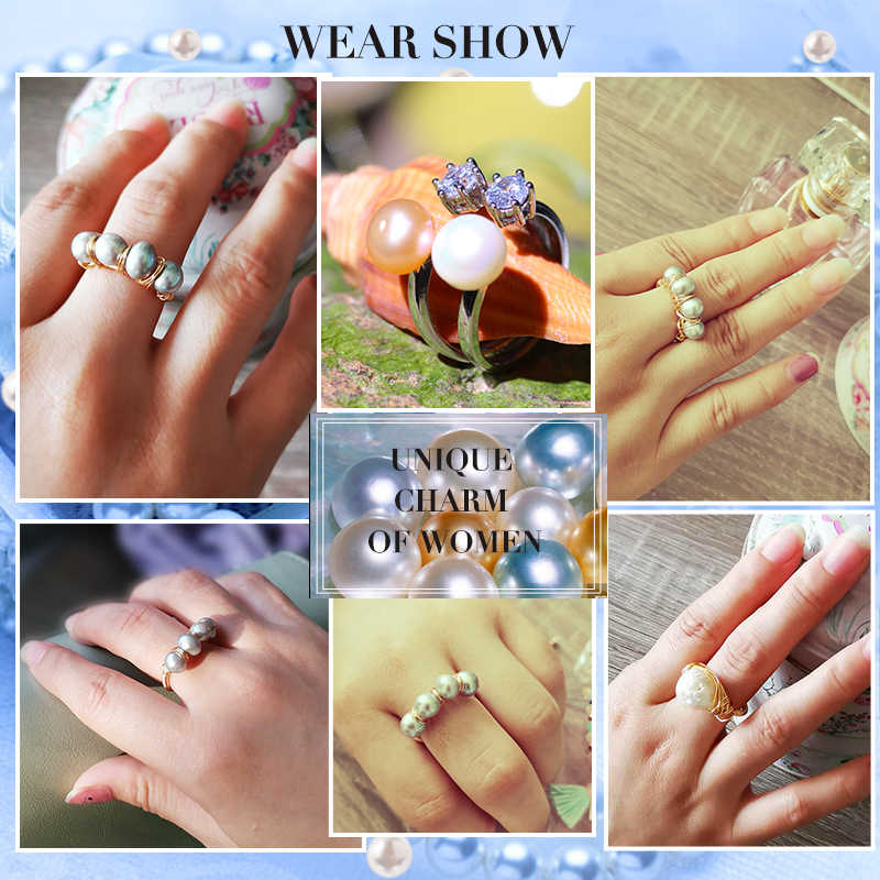 SEVEN GIRL Opening ring 6-7mm natural baroque pearl ring For women  Handmade Creative Gold rings Girl light luxury Gift