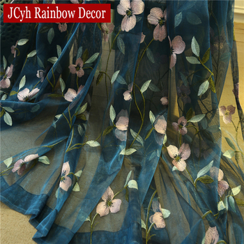 Floral Embroidered Sheer Tulle Curtains 2