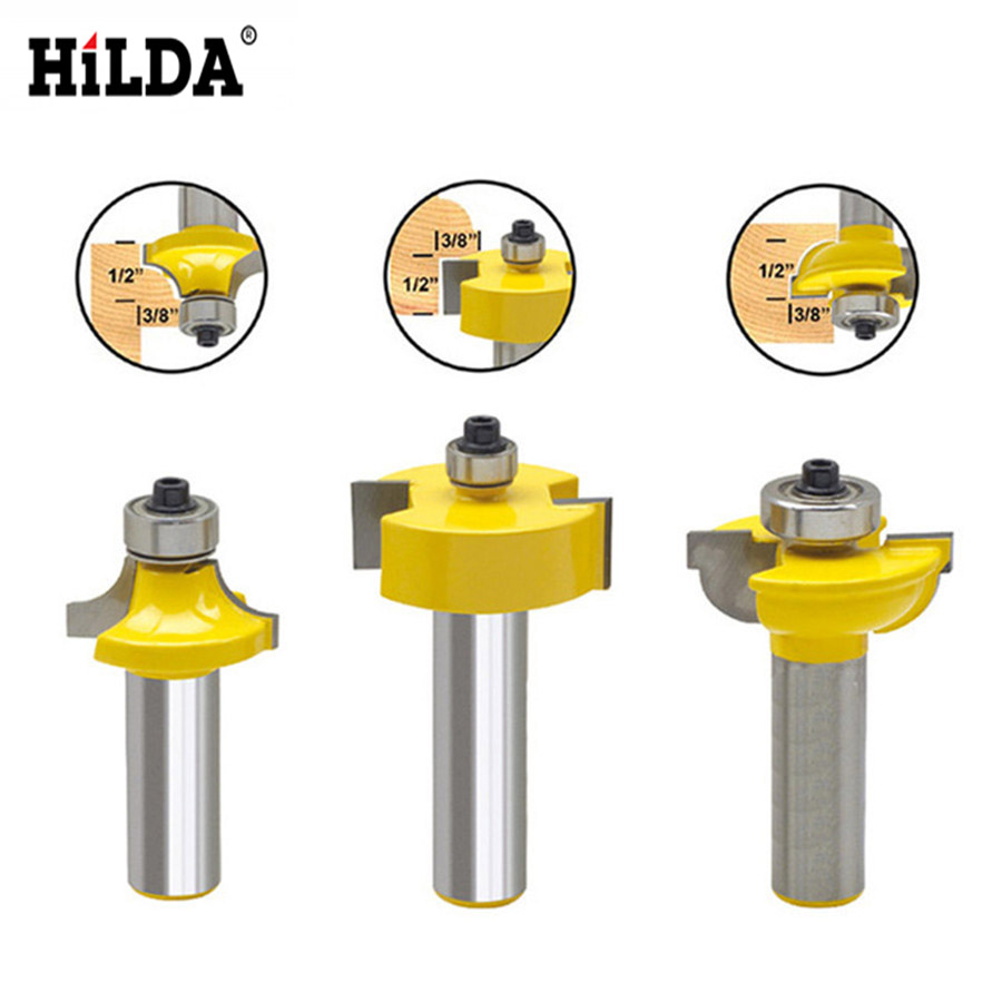 HILDA Milling Cutter Power Tools Door knife Wood 3Pcs 1/2 Shank Blade Router Bits Set Round Over Bead Woodworking 1 2 door nail cutter knife household west tenon joints fit together stitching carpentry knife blade 3pcs et