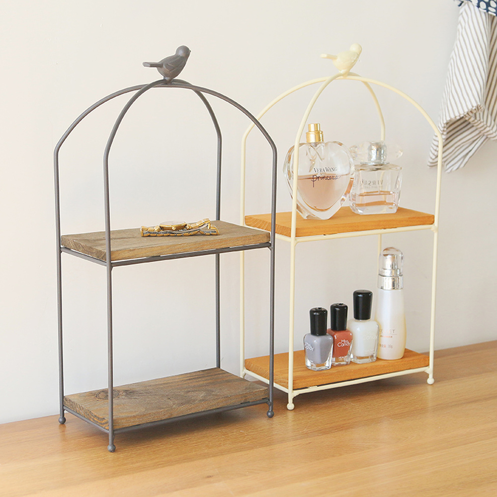 Wrought iron double layer storage rack solid wood board bird desktop rack kitchen bathroom cosmetics finishing rack wx8160936