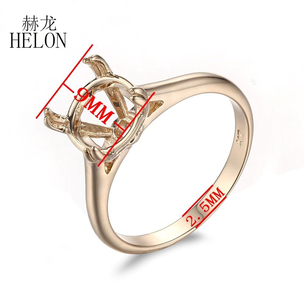 HELON Solid 10k Yellow Gold Solitaire Ring Semi Mount Ring Engagement Wedding Ring 9mm Round Shape Fine Jewelry Gold Ring