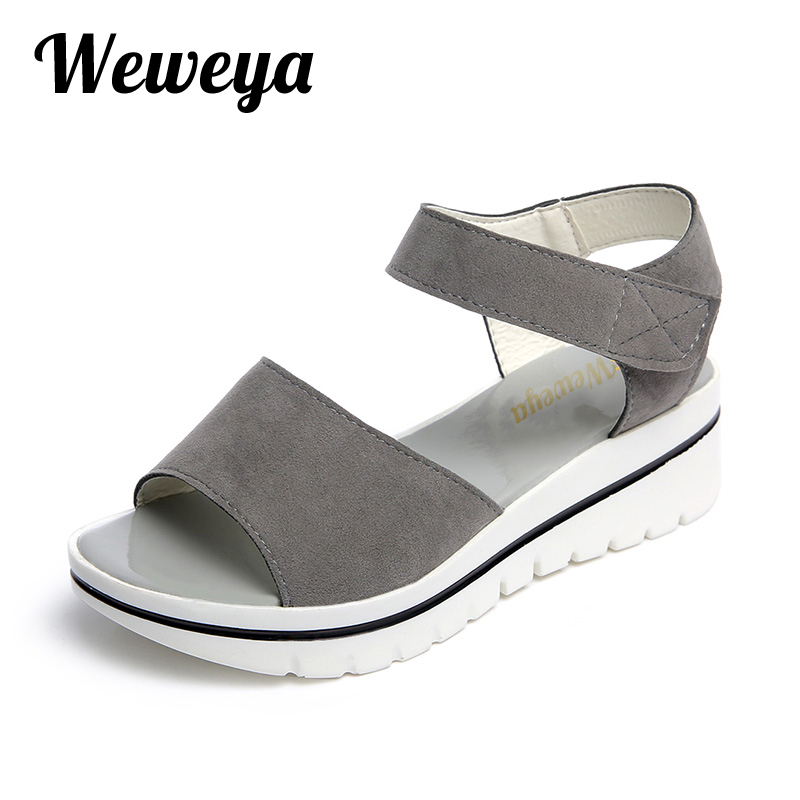 Weweya Casual Gladiator Female Flats Sandals 2017 New Platform Open Toes Shoes Women Summer Wedges Shoes Woman Sandalias Sapatos phyanic 2017 summer gladiator sandals straw platform creepers silver shoes woman buckle casual women flats shoes phy4046