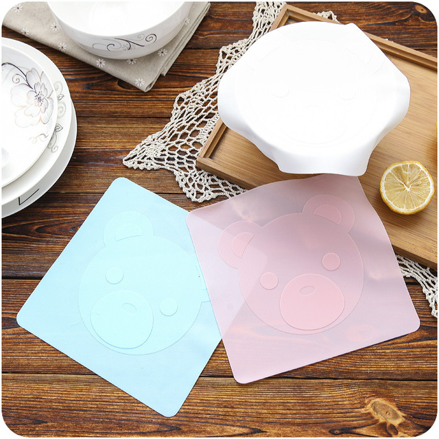 Silicone Bowl Cover Multifunctional Bear Pattern Resistant High Temperature Microwave Sealed Lid Refrigerator Cling Flim