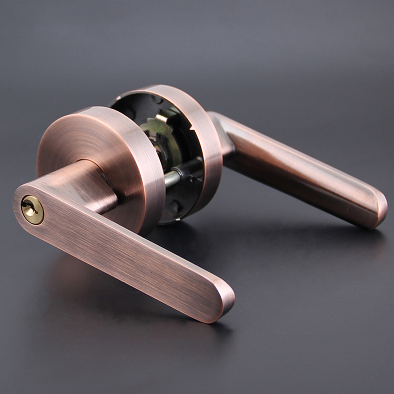 High quality single bolt lock room door handles interior lock with 3pcs keys 3 colors HM96