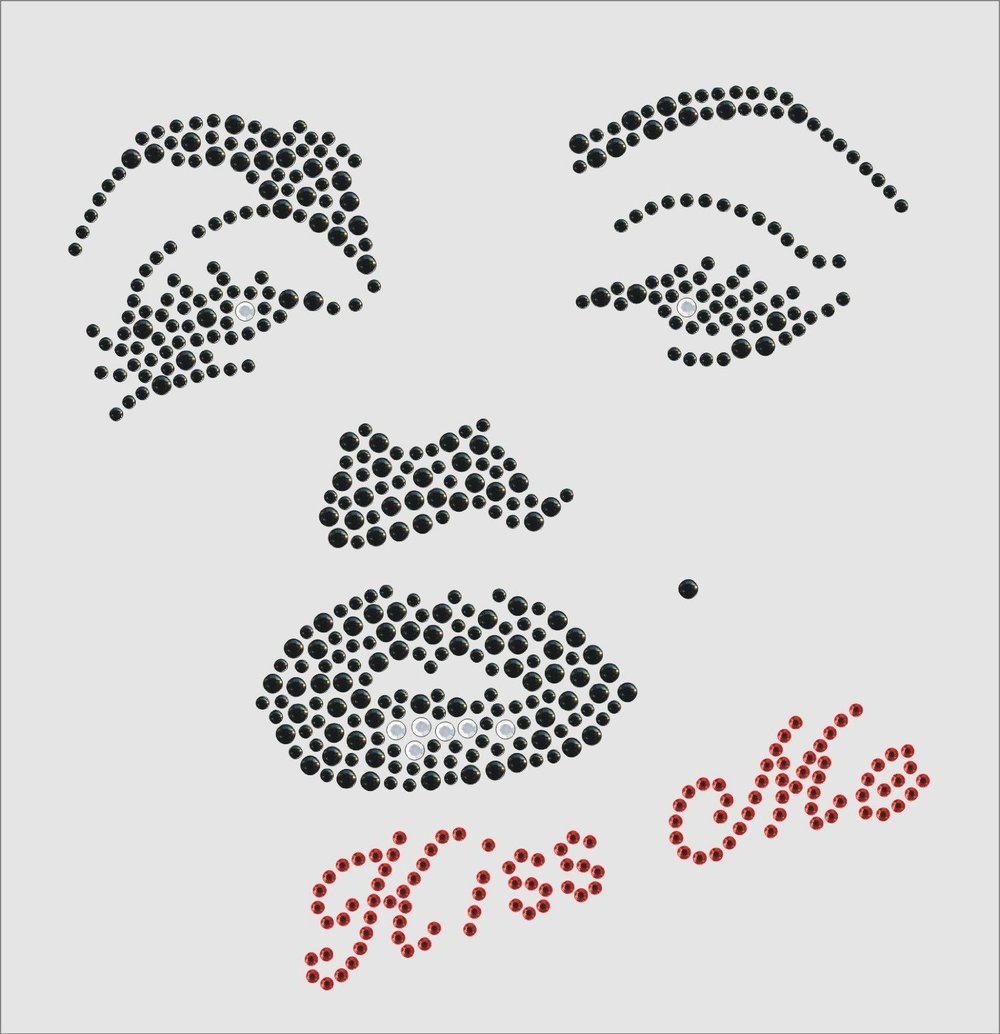 2pc lot Marilyn Monroe Kiss Me Rhinestone Transfer Iron on Design design  hot fix iron on rhinestone motifs rhinestones fix b09a2741c622