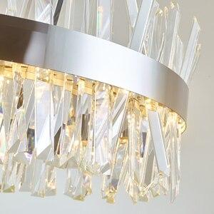 Image 5 - חדש מודרני מסעדת נברשת כרום/זהב עגול קריסטל מנורת סלון קישוט נברשת LED מלון מנורה
