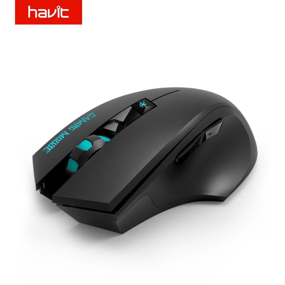 HAVIT ile 2.4G Kablosuz Oyun Faresi 2000 DPI 6 Düğme USB Alıcı PC Dizüstü Masaüstü Gamer fare sem fio (HV-MS976GT)