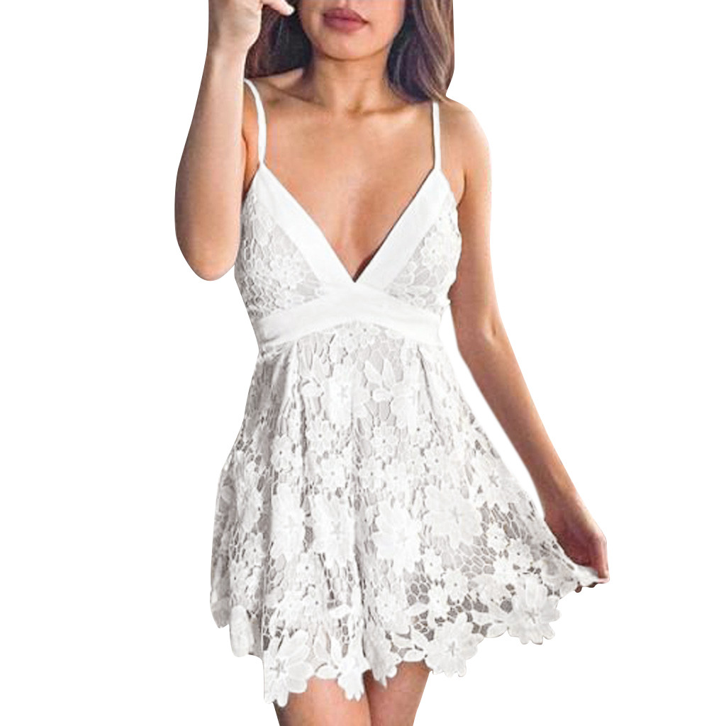 feitong 2020 High Slit Peplum Dresses  Women Boho Back Lace Mini Dress Sleeveless Evening Party Summer Beach Sundress#g10