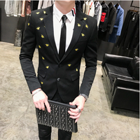 Gold Black Suit Bee Embroidery Mens Wedding Suit Black Slim Fit Man Dress Suit For Men Groom Wedding Dress Terno Masculino