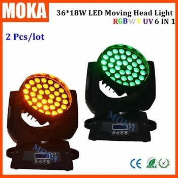 2 cái/lốc NEW 36*18 Wát 6 IN1 RGBWA UV DẪN Di Chuyển Zoom Đầu 36x18 Wát LED di chuyển đầu máy giặt ánh sáng