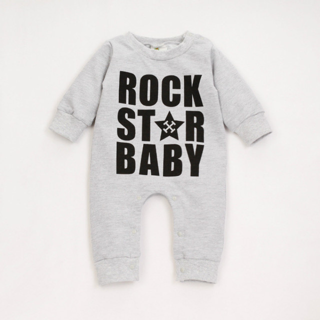 e78a99a9a Infant Solid Rompers Spring Autumn Rock Star Letter Baby Costume ...