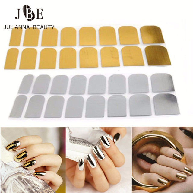 1pcs Nail Art Sticker Patch Punk Rock Styles Metal Foils Gold Silver Full