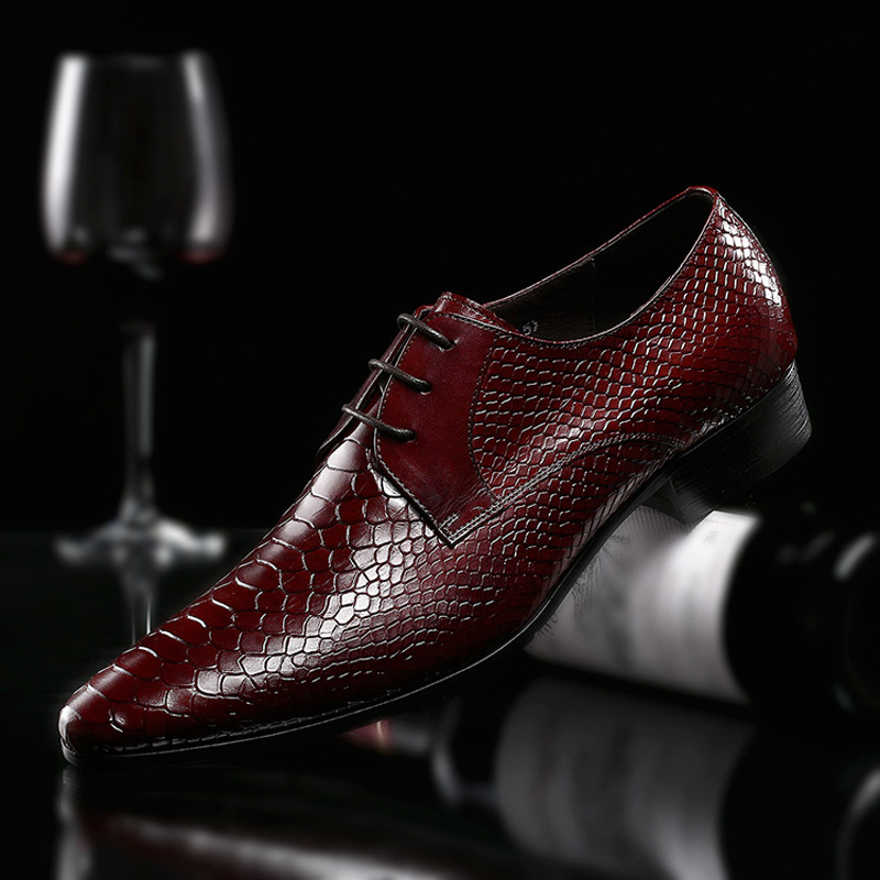 2018 Spring Men Handmade High-End Serpentine Genuine Leather Business Dress Shoes British Lace-Up Pointed-Toe Wedding Men Shoes pu serpentine lace up pointed toe womens flats