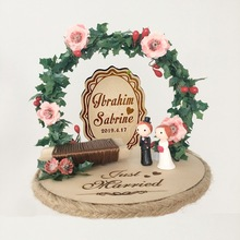 1pcs forest Engagement party decoration personalized rings pillow wedding wood rustic flower style  ring bearer box