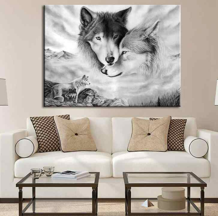 Morden Canvas Painting Animal Wall Art Black White Wolf Printing Poster Home Decoration Pictures For Living Room No Frame