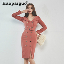 2019 Autumn Winter Office Dress for Women with Sashes Double Button Sheath Bodycon OL Work Dress Women Solid Robe Longue Elbise цена
