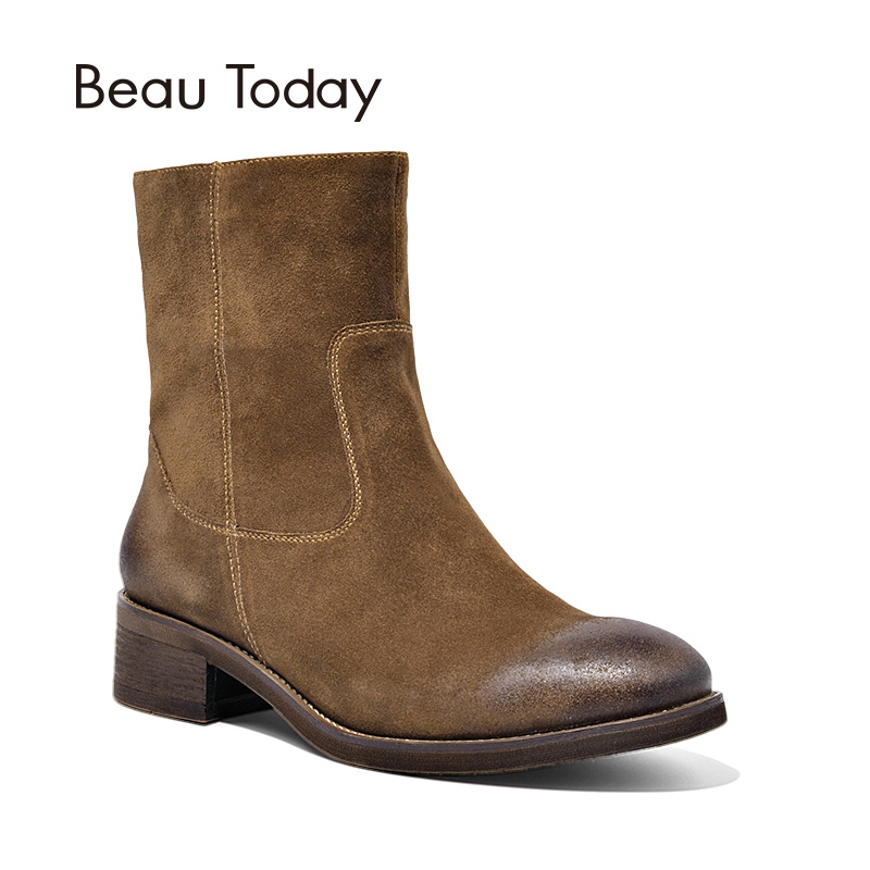 BeauToday Women Boots Fashion Brand Genuine Leather Cow Suede Zipper Ankle Length Lady Shoes Top Quality Shoes Handmade 03245 стоимость