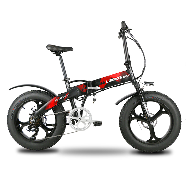 Lankeleisi X2000Plus Electric Bike Fat Tire Ebike 7 Speeds Full Suspension Foldable 500W Motor 48V 12