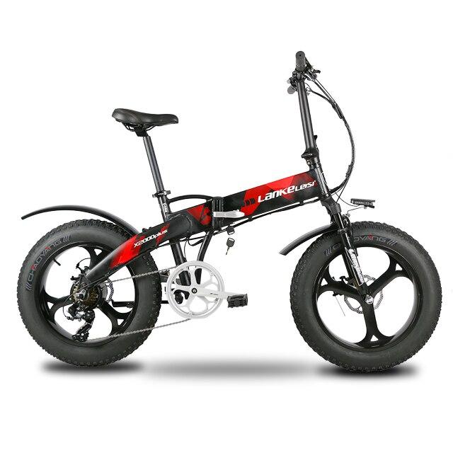 Lankeleisi X2000Plus bicicleta eléctrica grasa neumático de la bici 7 velocidades DE SUSPENSIÓN COMPLETA plegable de 500 W Motor 48 V 12.8A de la batería de litio e-bike