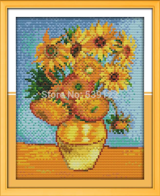 Freeshipping Van Gogh's Sunflower Painting!DIY Needlework