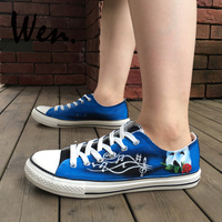 Wen Hand Painted Shoes Design Custom Men Women's Shoes Phantom Of The Opera Low Top Man Woman's Blue Canvas Sneakers Plimsolls