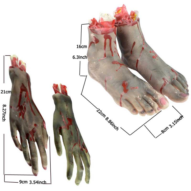 Blood Horror Scary Broken Feet Broken Hand Halloween Decoration Severed Latex Bloody Fake Feet Novelty 1Pair Fake hands/feet