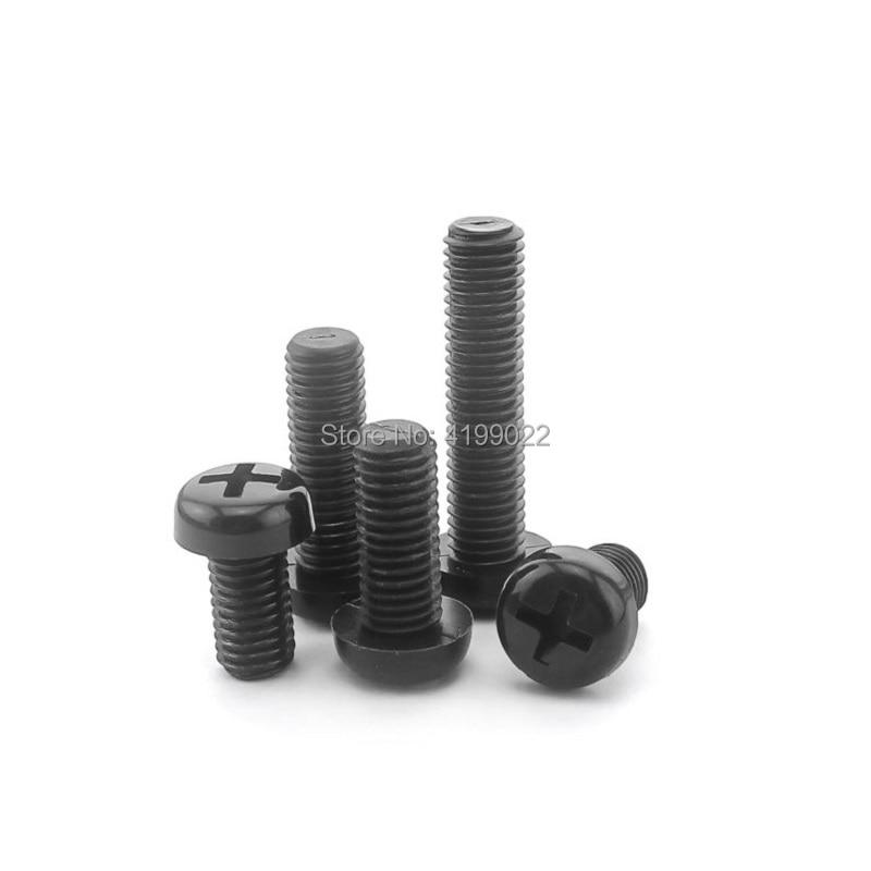 25//50//100pcs Black Plastic Nylon M4 Round Pan Phillips Head Screw Bolt Hex Nut